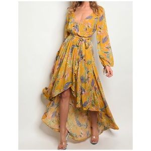 MUSTARD FLORAL HIGH LOW DRESS